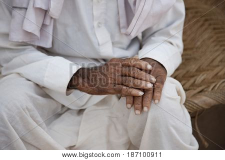 Lose up of Indian man's hands