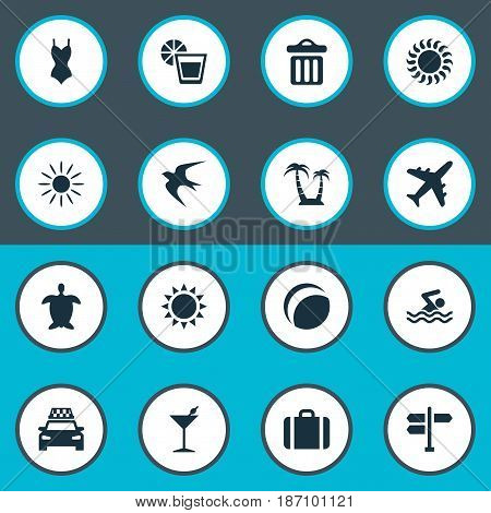 Vector Illustration Set Of Simple Seaside Icons. Elements Hot, Sun, Cocktail And Other Synonyms Man, Direction And Airplane.