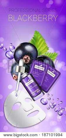 Blackcurrant skin care mask ads. Vector Illustration with blackcurrant smoothing mask and serum. Vertical banner.