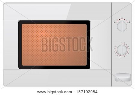 Microwave. Vector illustration isolated on white background.