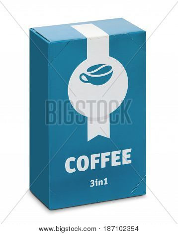 Packing of soluble coffee 3in1 on a white background isolated with clipping path