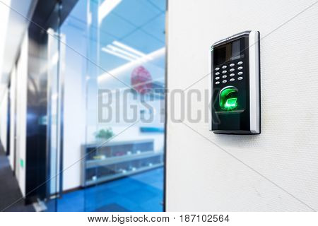 fingerprint scanner on wall