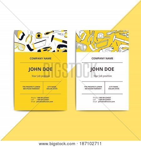 Home Improvement Corporate Business Card With Repair Tools. House Construction Id Template. Renovati
