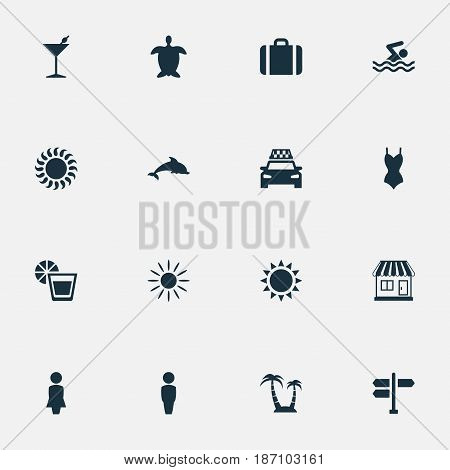 Vector Illustration Set Of Simple Beach Icons. Elements Tortoise, Cocktail, Woman And Other Synonyms Drink, Taxi And Man.