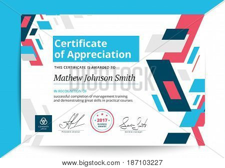 Certificate Of Appreciation Template In Modern Design. Business Diploma Layout For Training Graduati
