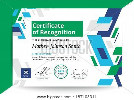 Certificate Of Recognition Template In Modern Design. Business Diploma Layout For Training Graduatio