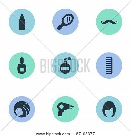 Vector Illustration Set Of Simple Hairdresser Icons. Elements Hackle, Blow Dryer, Whiskers And Other Synonyms Glass, Mustache And Vial.
