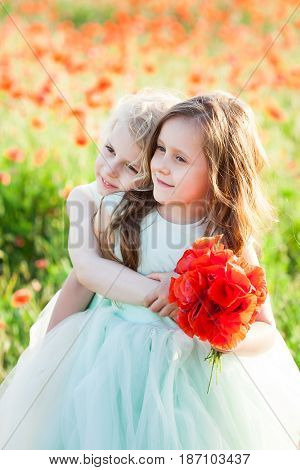 little girl model, wedding fashion concept - on meadow two girls bridesmaid collected the bouquet of poppies for a wedding ceremony, hugged and dressed in fashion dresses white and soft blue color