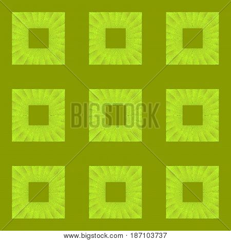 Abstract geometric seamless background. Regular squares pattern bright green and olive green.