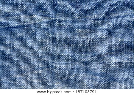 Blue Hessian Sack Cloth Texture.