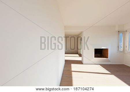 Interior of a modern house, big empty space. Nobody inside