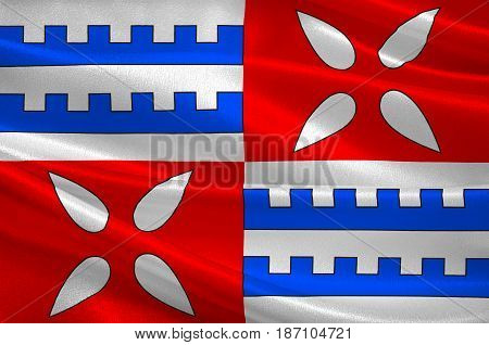 Flag of Muret is a commune in the Haute-Garonne department of which it is a subprefecture in the Occitanie region of southwestern France. 3d illustration