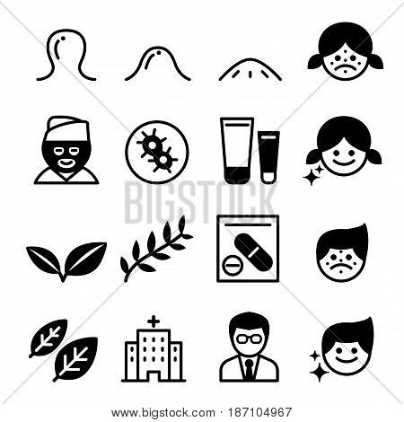Acne icons set vector illustration graphic design