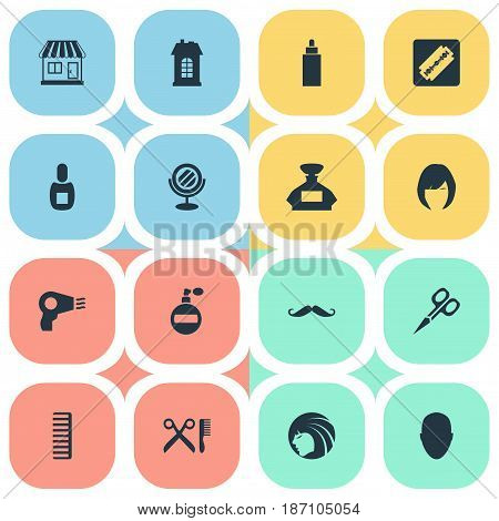 Vector Illustration Set Of Simple Barber Icons. Elements Flask, Container, Premises And Other Synonyms Girl, Flask And Shaver.