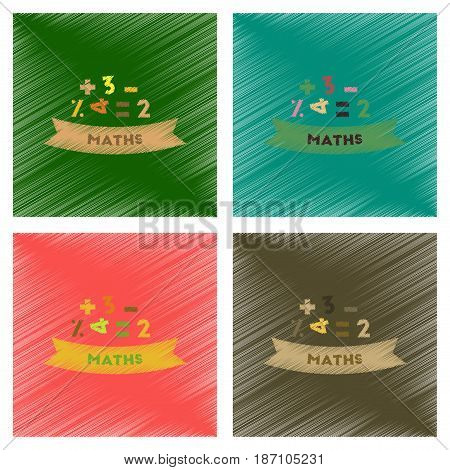 assembly flat shading style icons of math lesson