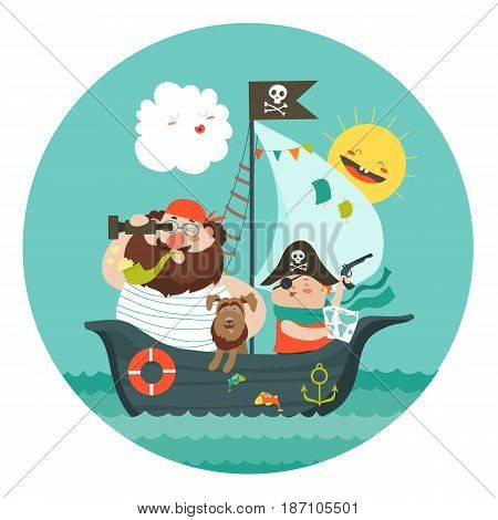 Happy dad and son sailing at their pirate ship. Vector illustration