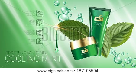 Cooling mint skin care series ads. Vector Illustration with mint leaves smoothing cream tube and container. Horizontal banner.