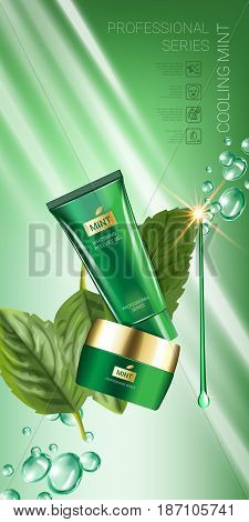 Cooling mint skin care series ads. Vector Illustration with mint leaves smoothing cream tube and container. Vertical banner.
