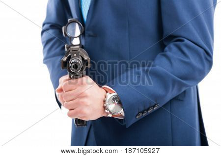 Undercover Agent Aiming The  Gun At The Camera