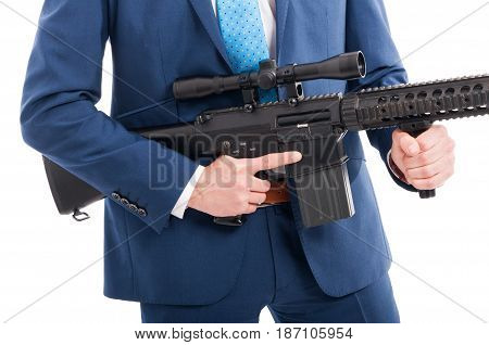 Hitman Hands Holding Military Weapon