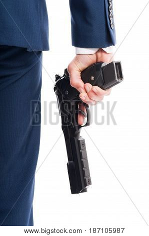 Secret Agent Hand In Closeup With Rifle