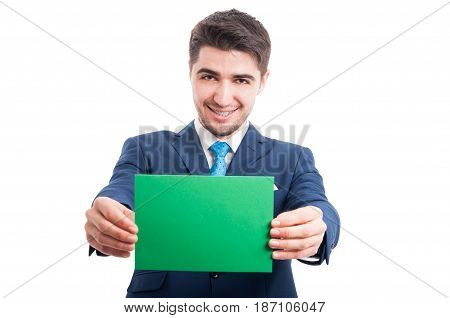 Happy Lawyer Smiling And Showing Empty Paper Card