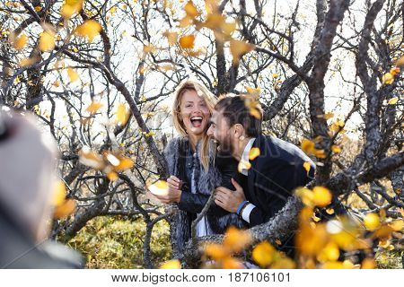 Young laughing couple enjoying their travel