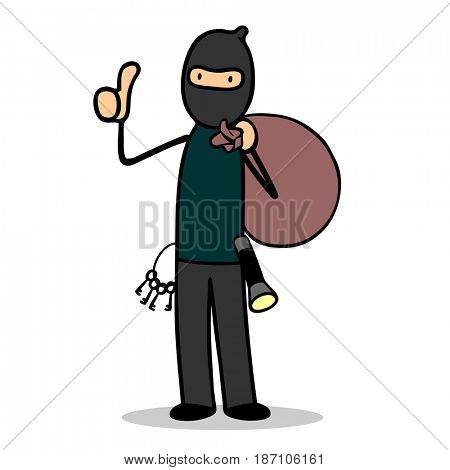 Criminal burglar or thief with mask holding thumbs up