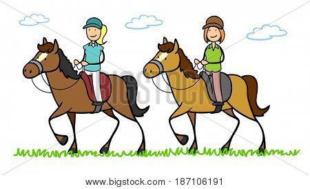 Two cartoon women riding horses in riding club in summer