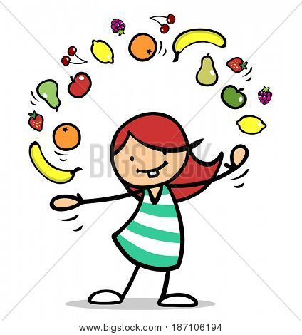 Cartoon girl juggling many different fruits in her hands