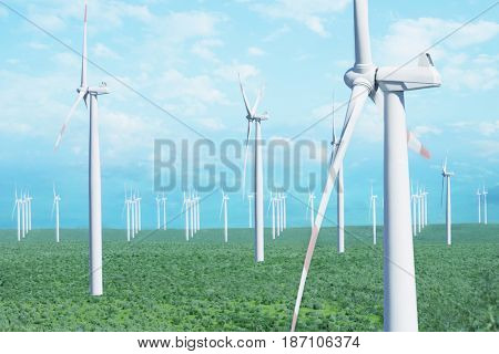 Wind farm in field