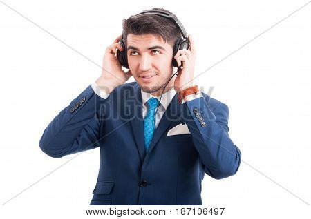 Salesman Smiling While Listening To Music