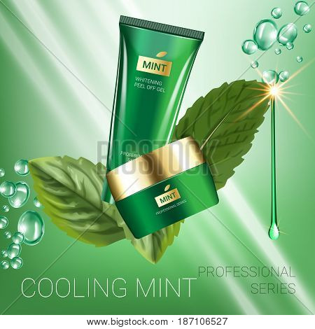 Cooling mint skin care series ads. Vector Illustration with mint leaves smoothing cream tube and container. Poster.