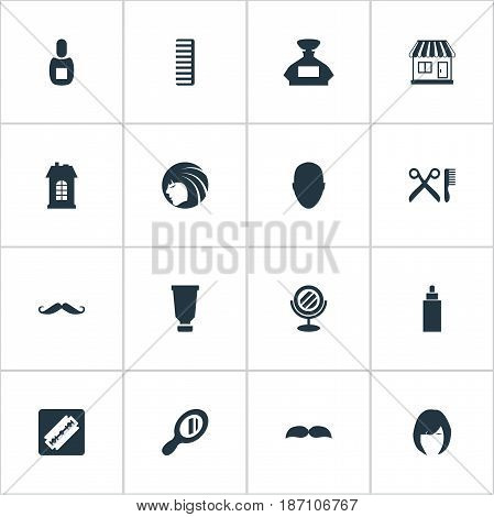 Vector Illustration Set Of Simple Barber Icons. Elements Supermarket, Scent, Whiskers And Other Synonyms Looking-Glass, Beautiful And Tool.