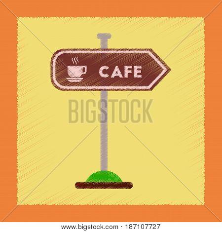flat shading style icon of cafe sign