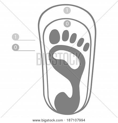 Human footprint icon of right foot vector