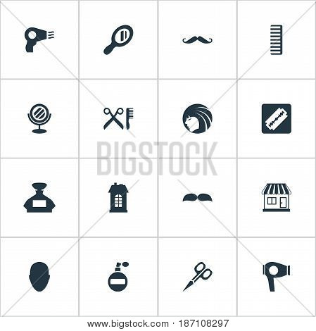 Vector Illustration Set Of Simple Beautician Icons. Elements Peeper, Barber Tools, Shaver And Other Synonyms Head, Lady And Machine.