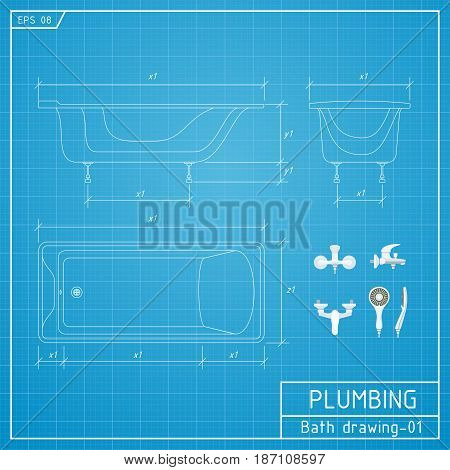 Bath outline. Front side and top view. Vector illustration on blueprint background