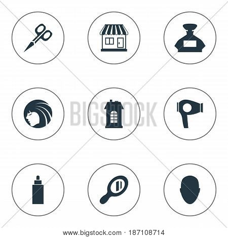 Vector Illustration Set Of Simple Hairdresser Icons. Elements Glamour Lady, Cut Tool, Human And Other Synonyms Container, Drying And Reflector.