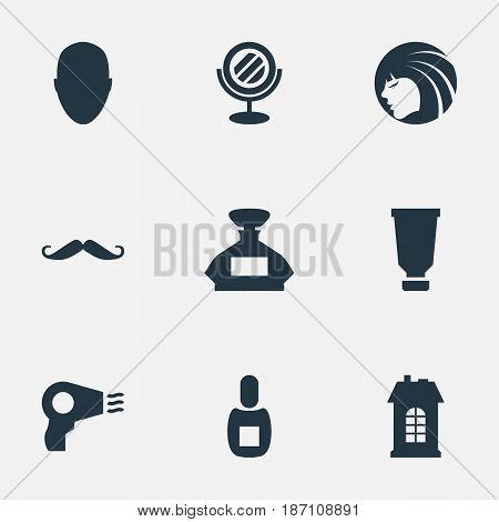 Vector Illustration Set Of Simple Beautician Icons. Elements Premises, Flask, Scent And Other Synonyms Machine, Whiskers And Lady.