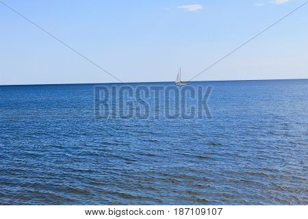 Sailboat in the Black sea in Ukraine