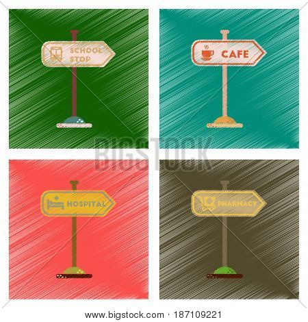 assembly flat shading style icons of school stop pharmacy cafe hospital sign