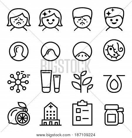 Acne icon set in thin line style Vector illustration Graphic design