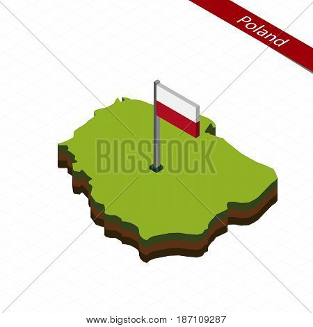Poland Isometric Map And Flag. Vector Illustration.