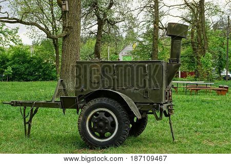 Old iron camp army kitchen on the lawn