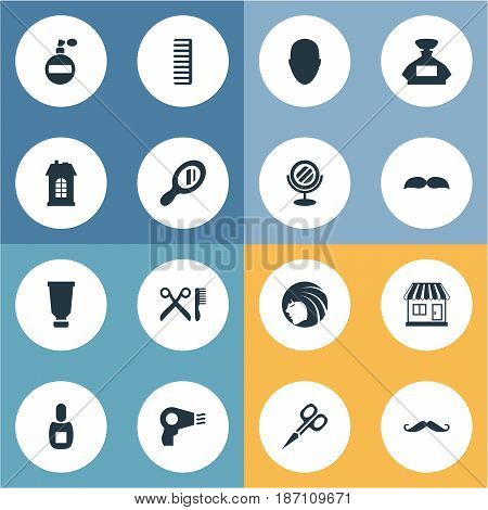 Vector Illustration Set Of Simple Beautician Icons. Elements Peeper, Glamour Lady, Scent And Other Synonyms Hairdryer, Bottle And Scissors.