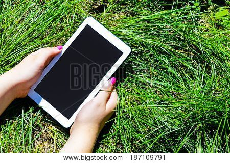 Woman's Hands Holding White Tablet With Blank Skreen On Green Gr
