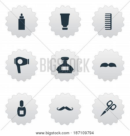 Vector Illustration Set Of Simple Beautician Icons. Elements Hackle, Bottle, Scent And Other Synonyms Perfume, Scent And Hair.