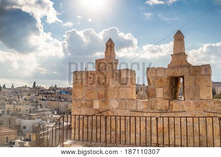 The Damascus gate or Shechem Gate crenellated parapet of the Damascus gate inside the tower above the gate in Old City of Jerusalem Israel