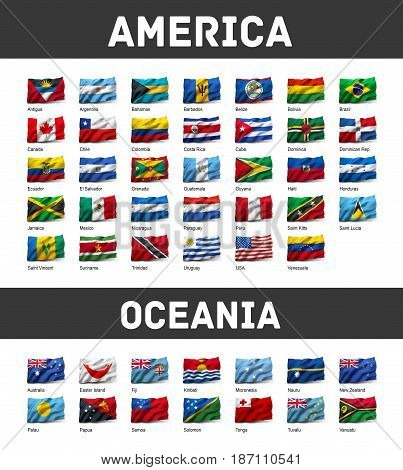 Flags of America and Oceania waving in the wind isolated on white background